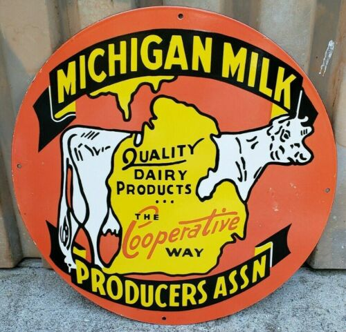 Large Michigan Milk Producers Assn Borden Cow Dairy Porcelain Advertising Sign