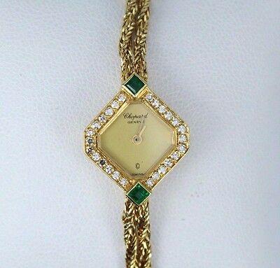 $12,750 Rare Vintage Lady Chopard 18k Yellow Gold Original Diamond Emerald Watch