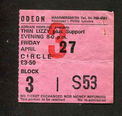Original Thin Lizzy Concert Ticket Stub Hammersmith London UK Black Rose Tour