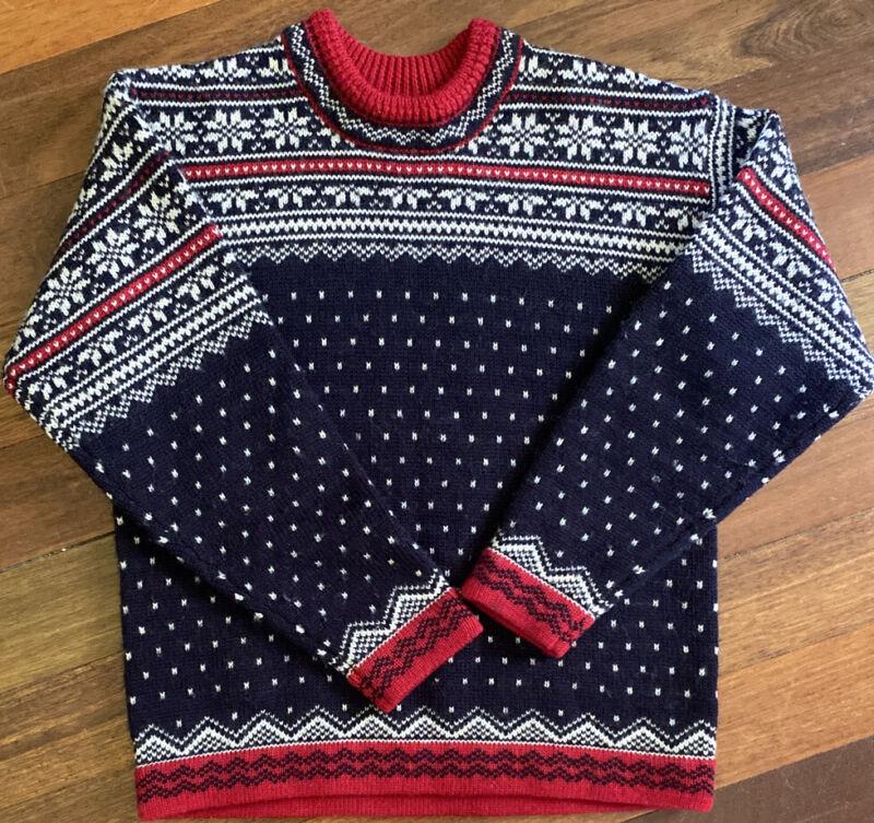 Vintage Lands End Direct Merchants Child's Heavy Wool Nordic Sweater M Fair Isle
