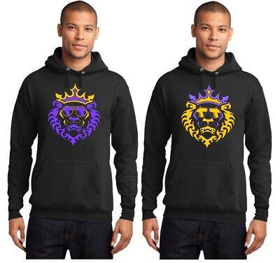 New LeBron James LA Lakers Lion with Shades Logo Purple Yellow on Black (Lebron James Sunglasses)
