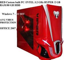 RED Custom built PC /INTEL 3.2 GHz HYPER /2 GB RAM/80 GB HDD/win7 St Marys Penrith Area Preview