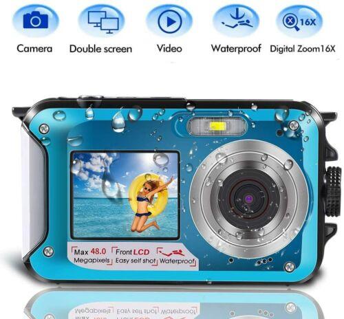 Underwater Camera Dual Screen 2.7K 24MP Waterproof Digital Camera Rechargeable