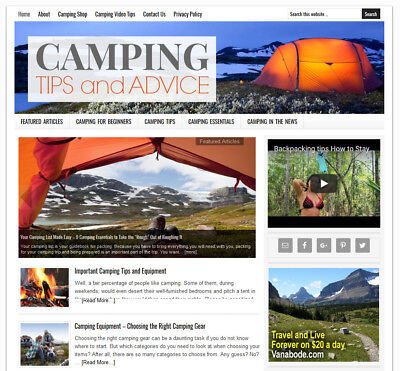 Camping Tips Blog Niche Website Business For Sale With Auto Content Updates