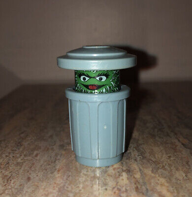 Fisher Price Little People Sesame Street Oscar The Grouch Trash Can Vintage