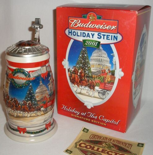 """2001 BUDWEISER - 8"""" CLYDESDALES LIDDED STEIN - HOLIDAY AT THE CAPITAL - NEW!"""