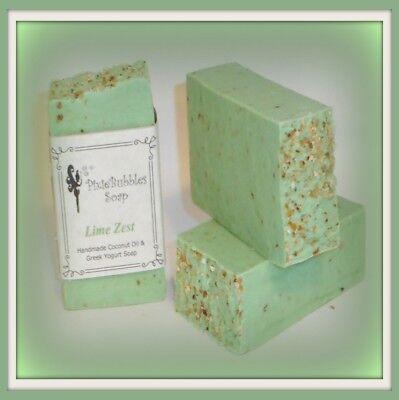 Handmade Soap Exfoliating PixieBubbles LIME ZEST Coconut Oil Greek Yogurt (Lime Zest)