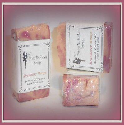 - Handmade Soap PixieBubbles STRAWBERRY MANGO Coconut Oil & Greek Yogurt Shea