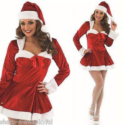 Ladies Sexy Christmas Mrs Claus Santa Fancy Dress Costume Outfit 8-22 Plus Size (Plus Size Mrs Claus Outfit)