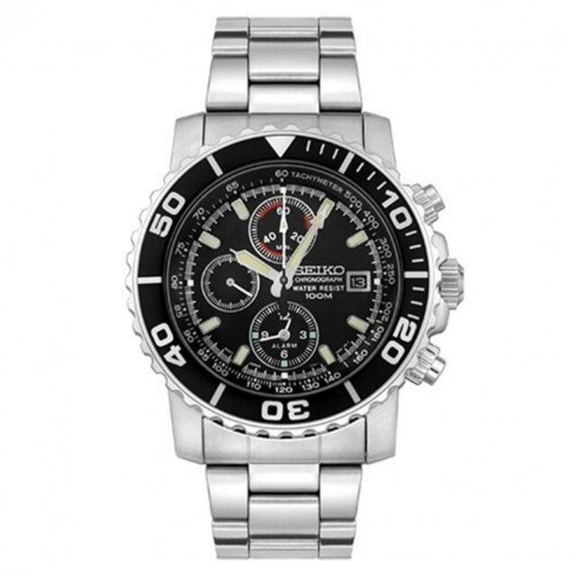 Seiko SNA225 P1 Silver Black Face Chronograph Men's Analog Watch With Retail Box