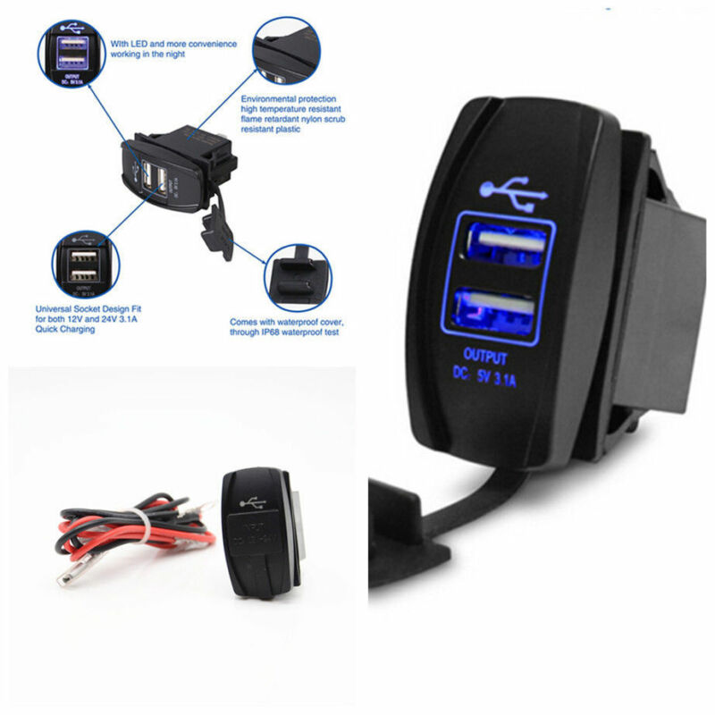 Car Dual Port USB Charger Socket Panel Mount 3.1A Output Jack Switch Blue LED