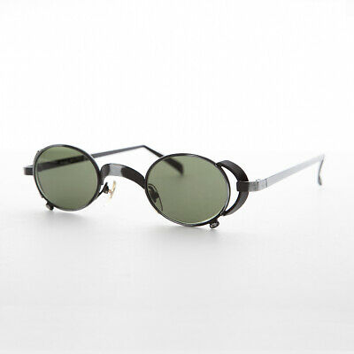 Oval Vintage Steampunk Sunglass in Gunmetal with Side Shields -Byron
