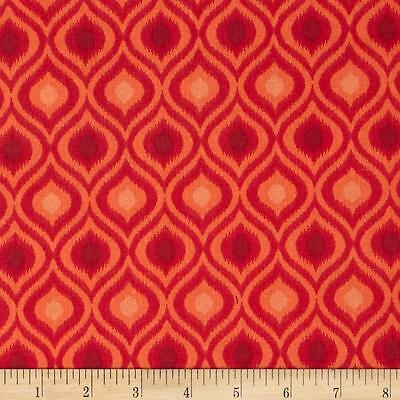 Fabric African Design Damask Orange Duck Cotton Canvas by 1/4 Yard BIN for sale  Shipping to India