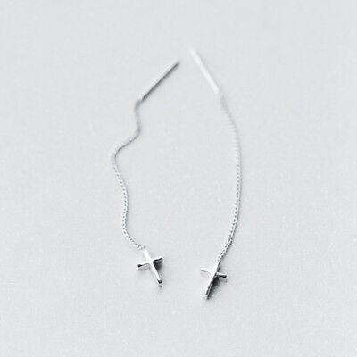 (925 Sterling Silver Women Cross Thread Dangle Threader Earrings A1902)