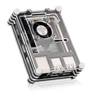 RPI B + Raspberry Pi 3 Modell B in Scheiben geschnitten Fall Gehäuse mit Lüfter