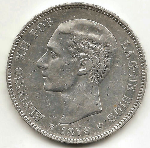 Alfonso Xii 5 Pesetas 1879 79 E.m.m. @ With Stars @ Very Beautiful @
