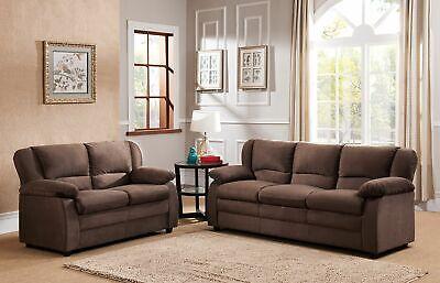 Kings Brand Furniture – 2 Piece Benton Sofa & Loveseat Living Room Set, Chocolat