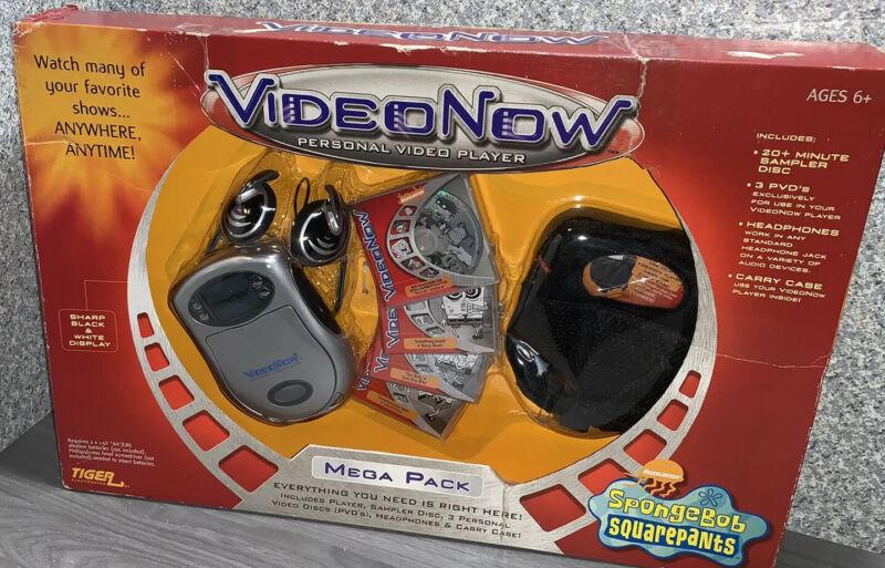 VIDEO NOW Personal Video Player MEGA PACK SpongeBob SquarePants Carry Case RARE!