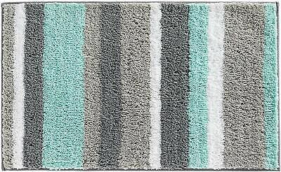 InterDesign Stripz Microfiber Bath Rug, 34 x 21-Inch, MintGr