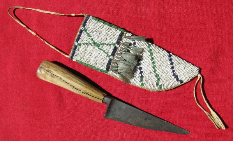 1880s BEADED AMERICAN PLAINS INDIAN SHEATH / HORSEHAIR TIN CONES/ PRE-1830 KNIFE