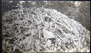 1900s-AMERICANA-LOGGING-LADY-WITH-AXE-HUGE-LUMBER-PILE-WOOD-HAT