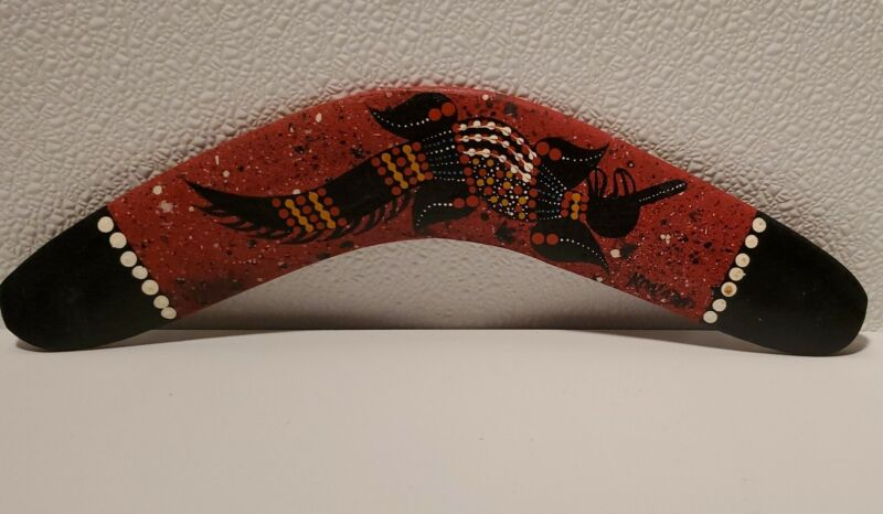 "Hand painted Wooden Boomerang Aboriginal Artwork Australia 12 1/2"""