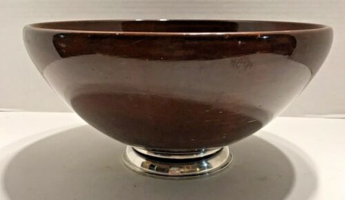 Mid Century Genuine Mahogany Hand Turned Large Wood Bowl Sterling Silver Base
