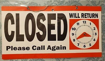 Open Closed Sign 11.5 X 6 Double Sided Hanging Plastic Will Return Clockred