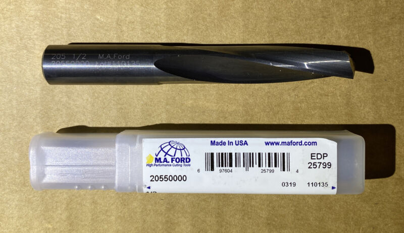 """M.A. Ford 20550000, 1/2"""" Diam, 3-3/4"""" OAL, Solid Carbide 135° Drill Bit, NEW"""