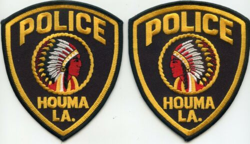 HOUMA LOUISIANA MIRROR IMAGE SET 2 police patches INDIAN POLICE PATCH