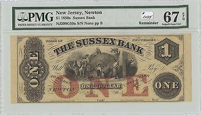 Obsolete  1 Sussex Bank Newton  Nj   1295  Nj390g10a  Remainder  Pmg 67 Epq