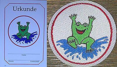Schwimmabzeichen Frosch Aufnäher Rund Lasergeschnitten+Urkunde ORIGINAL