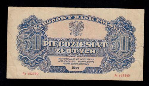 POLAND  50  ZLOTYCH  1944   PICK # 115a  VF.