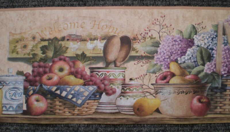 Welcome Home Kitchen Shelf with Flowers & Fruits by Designer Showcase DC5039B