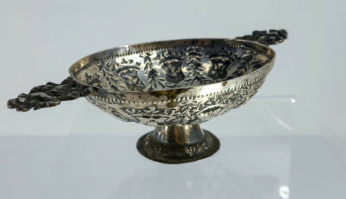 Antique 18th Century Silver Dutch Repousse Heraldric Brandy Bowl Dish