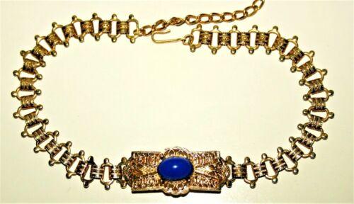 Vintage Ornate Gold-tone & Cobalt Blue Stone Choker Necklace