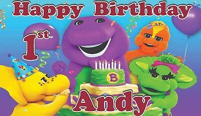 Barney Custom  Birthday Banner Personalized (52x30) inches ( purple or red) - Purple Birthday Banner
