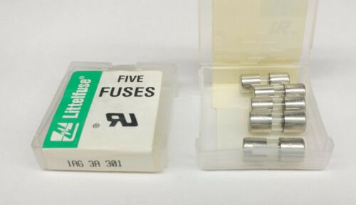 LITTELFUSE 301003   3 AMP  AUTOMOTIVE GLASS FUSES - 5 pcs