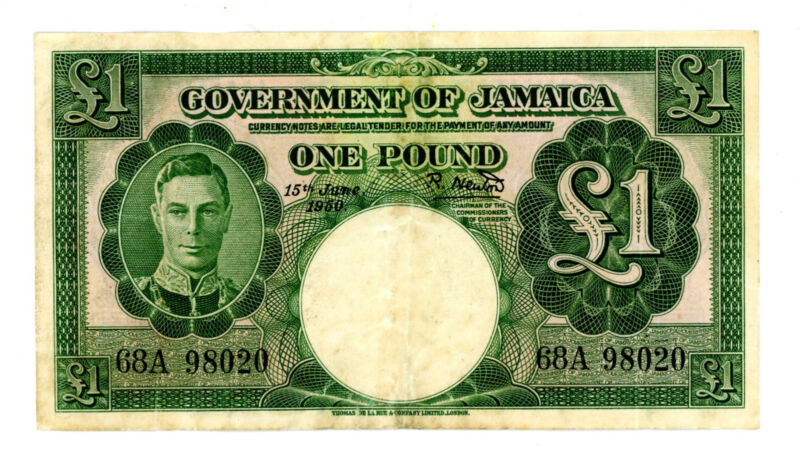 Jamaica  … P-41b … 1 Pound … 1950 … Choice *VF-XF*