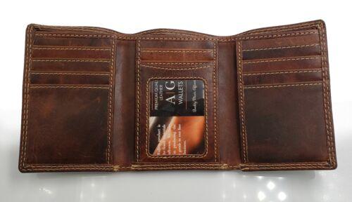 AG Wallets Leather Trifold Wallet Slim Vintage Credit Card ID Holder & Gift Box