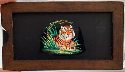 """VINTAGE HAND PAINTED MAGIC LANTERN SLIDE OF A TIGER WITH MOVING EYES 7"""" x 4"""""""