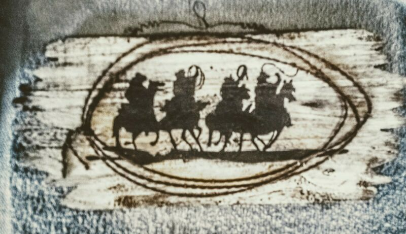 """COWBOY WESTERN PAINTED WOOD SIGN DECORATIVE WIRE EQUESTRIAN HORSE 16""""L x 7""""H"""