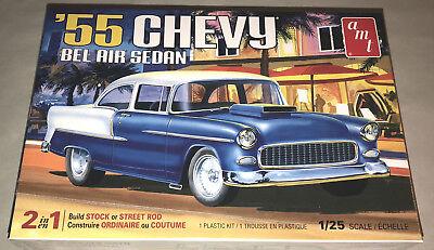 - AMT 1955 Chevy Bel Air Sedan 1:25 scale model car kit new 1119