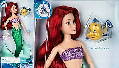 "PRINCESS ARIEL AND FLOUNDER DISNEY STORE CLASSIC DOLL 11-1/2"" THE LITTLE MERMAID"