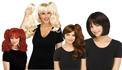 Adult 3 Piece Bob Pigtail  Easy to clip on Costume - Adult Easy Costumes