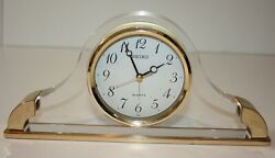 Seiko Gold and Acrylic Quartz Mantel Alarm Clock Japan
