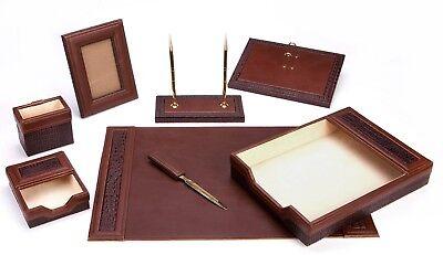 Majestic Goods 8 Piece Brown Pu Leather Desk Set