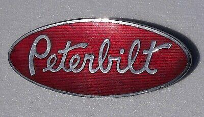 Vintage Original PETERBILT Truck Hood Emblem Nameplate Oval Logo Red Enamel