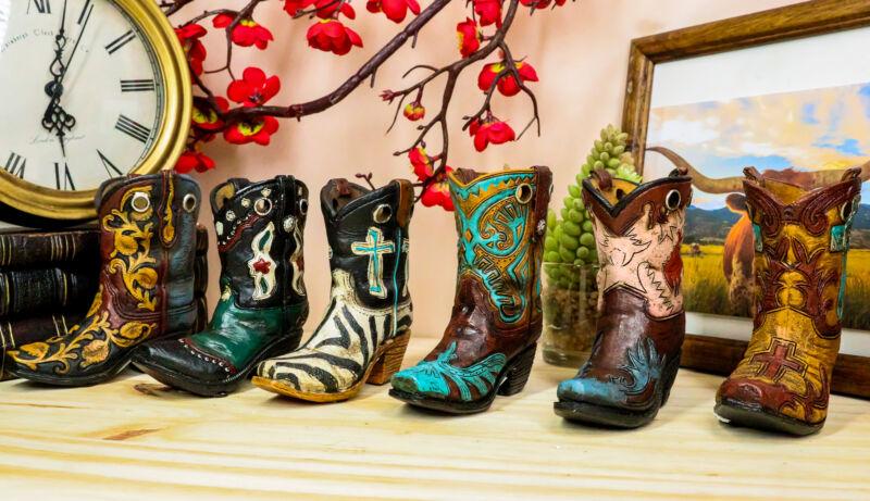 Rustic Western Crosses Tooled Leather Finish Mini Cowboy Boots Figurine Set Of 6