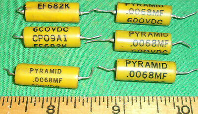 6 Glasseal Pyramid Cp09a1ee682k Mil-c-25 Caps .0068uf 600vdc Tested Ok